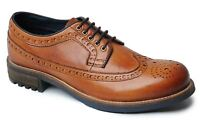 Mens Leather Shoes Grip Sole Smart Dress Brogues Lace Up Formal Size