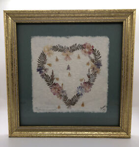 """Vintage """"Wildflowers"""" by Interia - Pressed Flowers in Heart Shape Design Signed"""