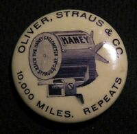 "1896 1.25"" OLIVER STRAUS & CO ""THE HANEY CYCLOMETER"" BICYCLE PIN Antique Pinback"