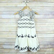 ZARA KIDS Girls' Crochet Panel Sleeveless Embroidered Boho Dress SIZE 10 Ivory