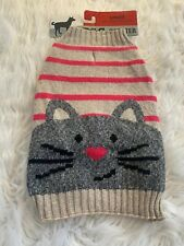 Small Dog Sweater (Cat Face) Pug, Shih Tzu, Boston Terrier NEW