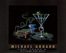 "Michael Godard ""POOL SHARK 2"" Martini-Olive-Cigar-Billiards-Las Vegas-Poster"