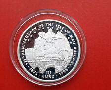 """Isle of Man: 10 euros Argent 1998, """"Railways on ISLE OF MAN"""", #f 1086, PP-PROOF"""