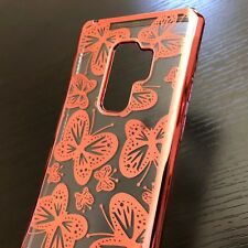 For Samsung Galaxy S9+ Plus - TPU RUBBER GUMMY GEL SKIN CASE ROSE GOLD BUTTERFLY