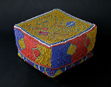 ANTIQUE AFRICAN BAMILEKE CAMEROON BEADED BOX