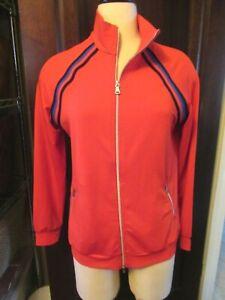 NWT GOLFINO RED Retro Sport Jacket Golf Shirt Full Zip MEDIUM Long Sleeve M 38