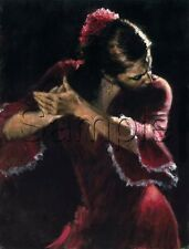 FLAMENCO DANCER SPANISH DANCE PALMAS RED COSTUME GYPSY VINTAGE CANVAS ART PRINT