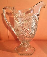 EAPG Footed Pitcher, US Glass Company 15112, Pattee Cross Pattern, c. 1909