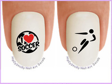 """Nail Art #322 SPORTS """"Soccer I Love"""" WaterSlide Nail Decals Transfers Stickers"""