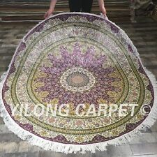 Yilong 6'x6 Floral Round Hand Knotted Silk Carpet Circular Classic Area Rug 071A