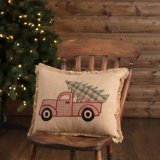 Fringed Burlap Embroirded Red Truck Christmas Pillow 14x18 Filled/Free Shipping