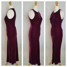 HOBBS Marilyn Anselm Burgundy Velvet Silk Maxi Shift Evening Cristmas Dress 14