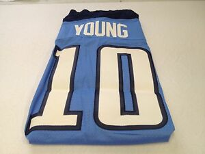 MEN'S VINCE YOUNG #10 RETRO TENNESSEE TITANS SKY SEWN REEBOK Jersey NWT