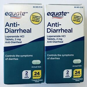 2 Packs Equate Anti-Diarrheal HCI 2mg 24 Caplet, Total 48 Caplets. Exp:04/2024