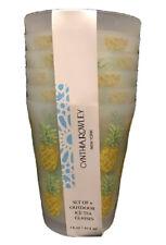 Cynthia Rowley Pineapple Plastic Ice Tea 14oz Outdoor Cups Set Of 6 NEW