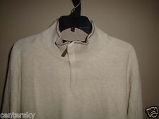 New $69 Tasso Elba Men's Quarter Zip Mock Neck Sweater Silver Birch Heather L