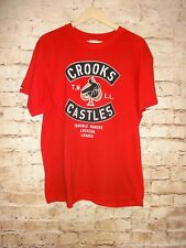 Crooks & Castles Men's Red T Shirt SZ L Large Tee Trouble Makers Locked & Loaded