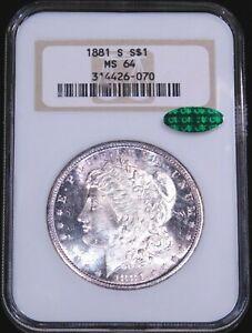 1881-S Morgan Silver Dollar NGC MS64 CAC Great Falls Collections PQ #GE737
