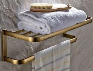 Antique Brass Wall Mount Bathroom Accessories Shelf Towel Rack Holder 8ba172