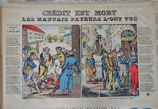 Vintage Rare Imagerie Epinal/Pellerin print Crédit est Mort mid1800sINV2290