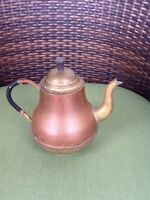 Antique Vintage Copper Brass Tea Pot Kettle Holland Dutch Bamboo Wrapped Handle