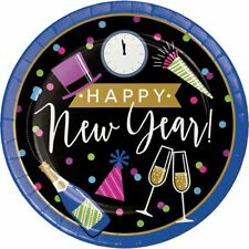 """New Years Eve Cheers 8 Ct 8.75"""" Luncheon Dinner Plates"""
