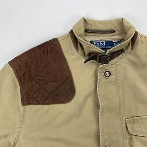 Polo Ralph Lauren (42-R) Tan Shooting/Safari Leather Shoulder Twill Jacket