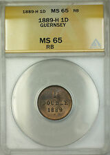 1889-H Guernsey 1D Double Coin ANACS MS-65 Red-Brown Gem BU