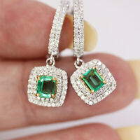 1.75 ctw Natural Green Emerald Diamond Solid 14k 2-Tone Gold Halo Drop Earrings