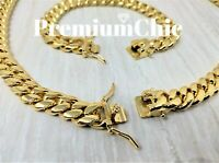 12mm Mens Miami Cuban Link Bracelet & Chain SET 14k Gold Plated Stainless Steel