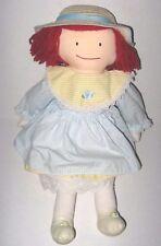 "17"" Eden Madeline Rag Doll Vintage 1990 Blue Yellow Stripe Dress Straw Hat Cloth"