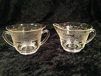 Vintage Depression MACBETH EVANS S-Pattern Glass Sugar Bowl & Creamer Set EUC