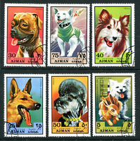 AJMAN 1971 DOGS / SPACE / RABBIT SET OF ALL 6 COMMEMORATIVE STAMPS CTO