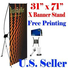 "X Banner Stand 31"" x71"" Free Graphic Print Trade Show Display Free Bag Pop Up M"