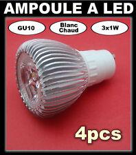 SOLDE# ampoule à LED 3 x 1w   GU10 blanc chaud 4pcs + 1 gratuite