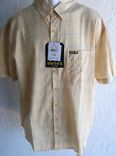 NWT Smith's Short Sleeve Button Front Shirt for Men Yellow Plaid  XL