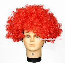 Halloween Hot Red Curl Afro Synthetic Hair Wig Hat Party Fancy Unisex Costume