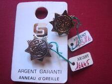 BOUCLE D'OREILLE ANNEAU SOLEIL ARGENT 925 VINTAGE 1970 NEUF/ NEW SILVER EARRING