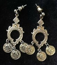 Vintage Roman Soldier Coin Dangle Earrings - Gold Tone