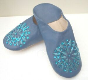 MOROCCAN * BLUE * LEATHER SEQUINED SLIPPERS