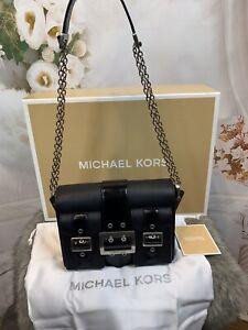 Michael Kors Hayden Medium Saffiano Leather Messenger Bag NWTS BLACK MSRP $258