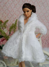 White Lovely Fashion Winter fur Coats Clothes/Outfit For Barbie Doll C01