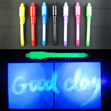 1X Magic 2 In 1 UV Invisible Ink Pen Fluorescent Secret Stationery Office Supply