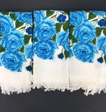 Vintage Hand Towels Decorator Retro Green Blue Roses Cottage Shabby Chic Floral