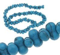 30 Türkis Edelstein Perlen Blau Naturstein Knochen 10mm für Schmuck BEST G981