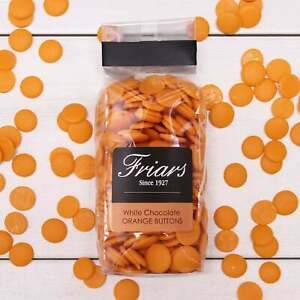 Luxury Orange Flavour Chocolate Buttons Gift Bag Zesty White Chocolate Drop 175g