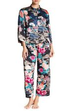 NEW N Natori Women's Dreamy Floral Mandarin PJ, Black Gilded Raspberry Sz Large