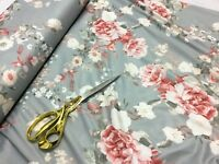 *NEW*Stretch Poly Viscose Jersey Floral 7 Dress/Craft/Curtain Fabric*FREE P&P*