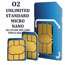 O2 NETWORK PAY AS YOU GO 02 SIM CARD SEALED UNLIMITED CALLS AND TEXTS