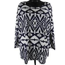 La Ropas Blue & White Aztec Print Stretchy Long Sleeve Top Women's Size 2X